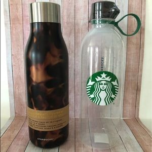 Starbucks Tortoise water bottle + plastic bottle